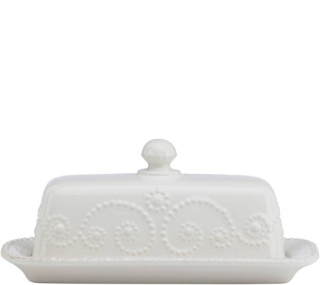 Lenox French Perle Covered Butter Dish