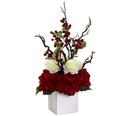 Holiday Cheers Arrangement with Vase by NearlyNatural