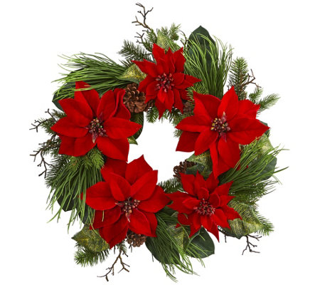 28 Poinsettia And Pine Wreath By Nearly Natural