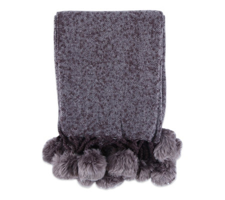 Berkshire Blanket Brushed Woven Throw With Furpom Poms