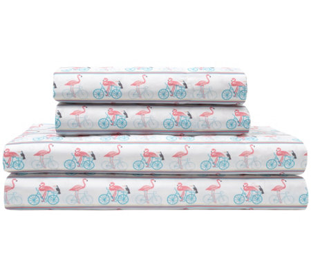 Elite Home Flamingo Bike Ride Print 4 Piece Calkg Sheet Set