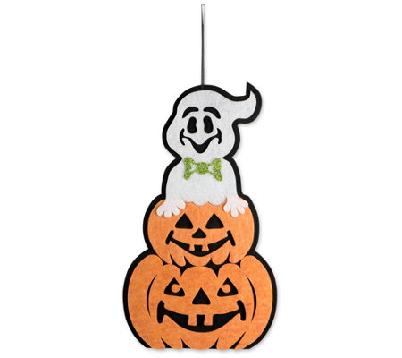 Design Imports Hanging Foam Ghost with Pumpkin