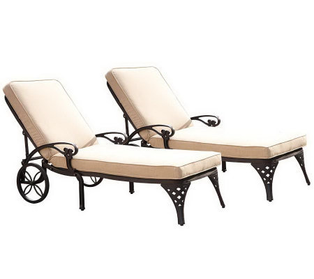 Home Styles Set of 2 Biscayne Chaise CushionedLounge Chairs