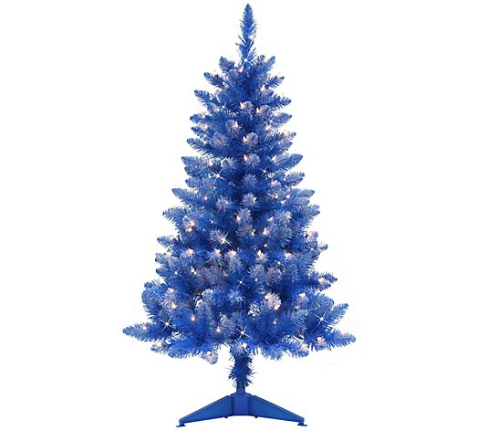 Puleo International 4 Pre Lit Fashion Blue Christmas Tree Qvc Com