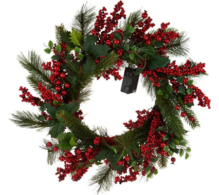 "21"" Illuminated Red Berry and Holly Wreath by Valerie"