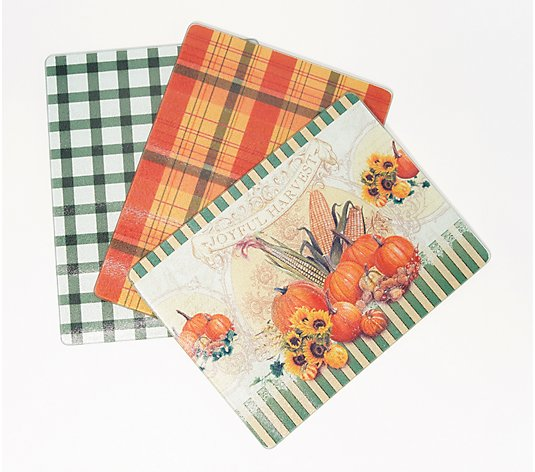 Set of 3 Harvest Glass Cutting Boards by Valerie