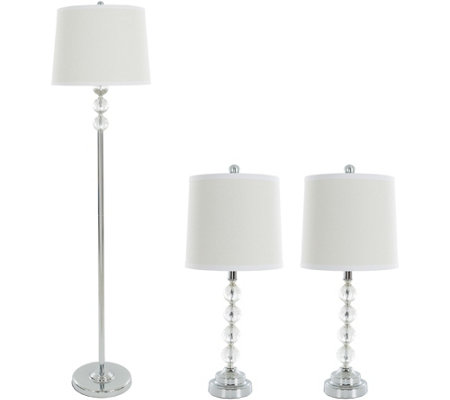 Lavish Home Table and Floor Lamps Set of 3, Faceted Crystal