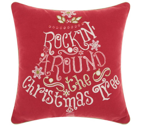 "Kathy Ireland Rockin' Christmas Red 16"" x 16"" Throw Pillow"