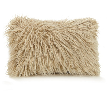 Faux Fur Decorative Pillow.Ayesha Curry Faux Fur Oblong Decorative Pillow Qvc Com