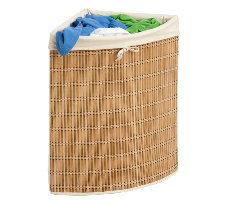 Honey-Can-Do Wicker Corner Hamper with Liner