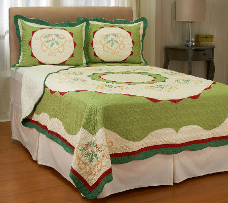 Holiday Ivy 100% Cotton Twin Pieced Quilt w/ Shams