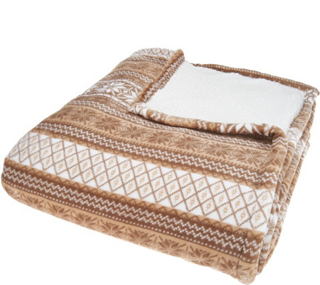 Berkshire Queen Fair Isle Velvet Soft Reverse to Sherpa Blanket