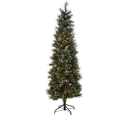 7' Glistening Pine Incandescent Slim Tree by Valerie