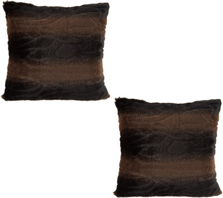 "Dennis Basso Set of 2 18"" x 18"" Faux Fur Pillows"