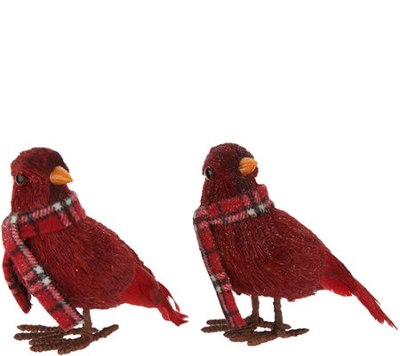 """As Is"" Set of 2 Glittered Cardinals with Plaid Scarves by Valerie"