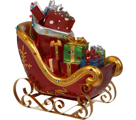 """As Is"" Kringle Express Indoor/ Outdoor Lit Santa's Sleigh with Presents"
