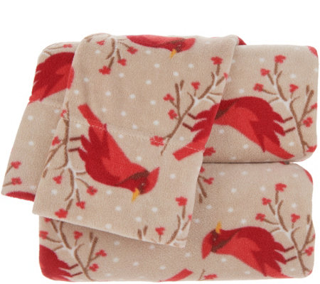 Malden Mills Polarfleece Holiday Printed California King Sheet Set