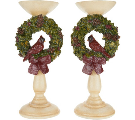 """As Is"" S/2 12.5"" Cardinal Wreath Pedestal Candle Holders by Valerie"
