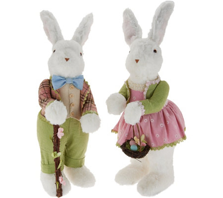"21"" Soft White Bunny Couple with Basket & Walking Stick by Valerie"