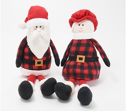Santa and Mrs. Claus Checkered Plush Character Set by Valerie