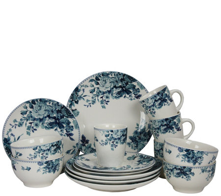 Elama Traditional Blue Rose 16-Piece DinnerwareSet