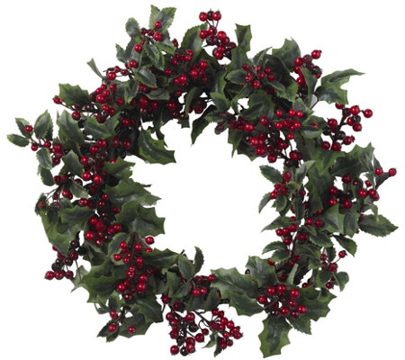 "24"" Holly Berry Wreath by Nearly Natural"