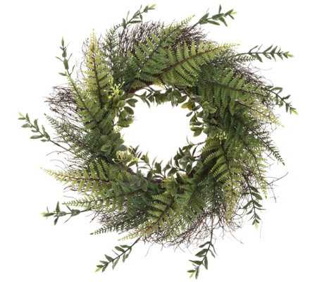 Pure Garden 21'' Assorted Green Fern Plants Wreath