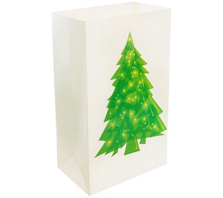 Lumabase Set Of 24 Holiday Tree Plastic Luminaria Bags