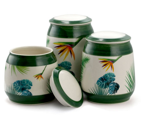 Elama 3-Piece Ceramic Kitchen Canister Collection in Green — QVC.com
