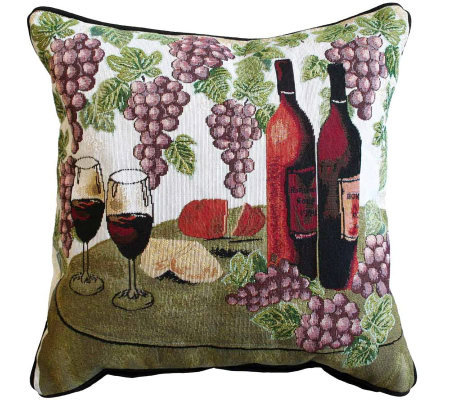 Wine Table 18&quot x 18&quot Tapestry Decorative Pillow
