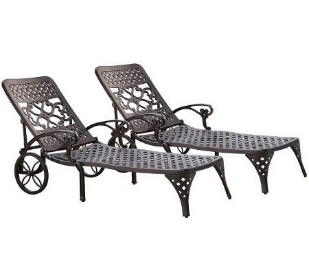 Home Styles Set of 2 Biscayne Chaise Lounge Chairs