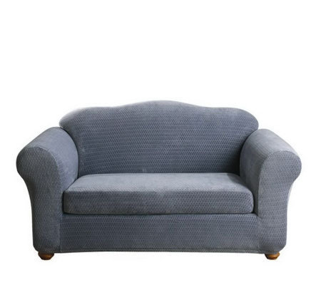 Sure Fit Stretch Royal Diamond 2-Piece Love Seat Slipcover