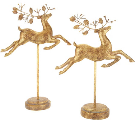 """As Is"" Set of 2 Graduated Regal Deer on Stands by Valerie"