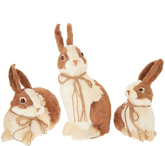 Set of 3 Sisal Bunny Friends with Bows by Valerie