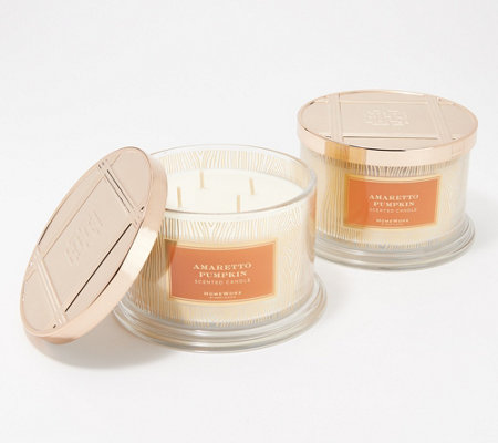 HomeWorx by Harry Slatkin S/2 Amaretto Pumpkin Deluxe 4-Wick Candles