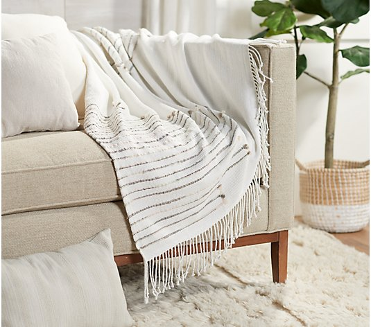 "Soft Neutral Tribal 50""x60"" Knit Throw By Lauren McBride"