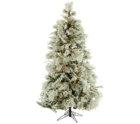 Fraser Hill Farm Prelit 10' Flocked Snowy PineChristmas Tree