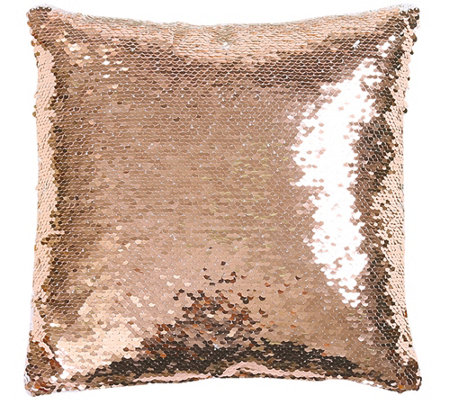 Mermaid Sequins Blush/White Decorative Pillow by Lush Decor