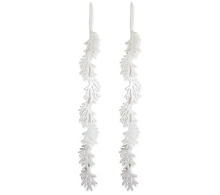 DII Large Glittering White Garland Leaves Decoration Set/2