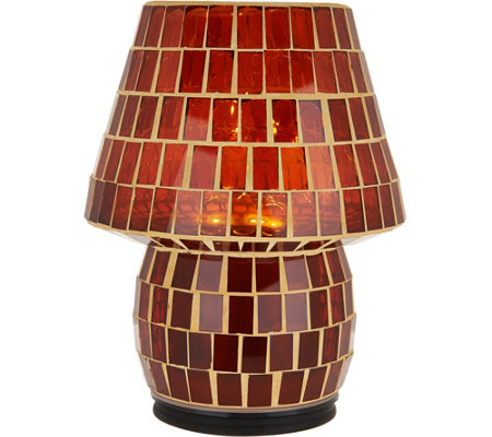 "8"" Illuminated Indoor/Outdoor Colored Tile Mosaic Lamp by Valerie"