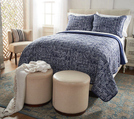 Northern Nights 100% Cotton Quilted Queen Coverlet with Shams