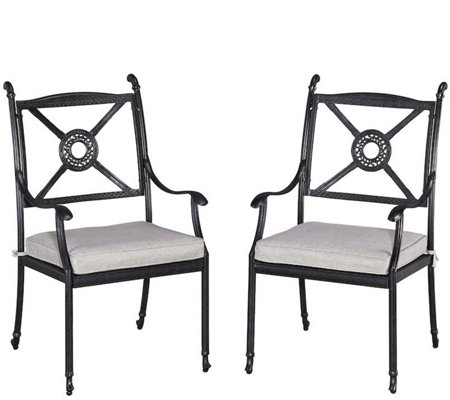 Athens Arm Chairs with Cushions, Set of Two