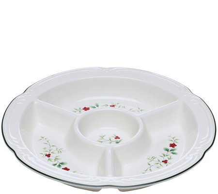 Pfaltzgraff Winterberry Four-Section Divided Serve Bowl, Round