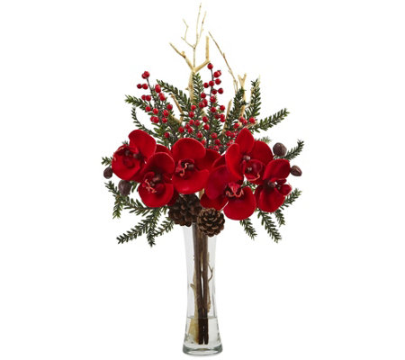 Mixed Orchid Holiday Arrangement with Vase by Nearly Natural