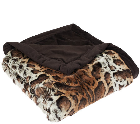 Dennis Basso Platinum Luxe Faux Fur Throw with Velvet Border