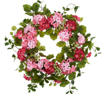 "22"" Geranium and Berries Wreath by Valerie"