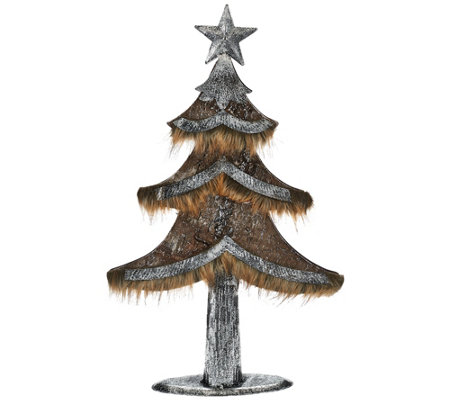 """As Is"" Woodland Couture Faux Leather and Fur Tree or Deer"