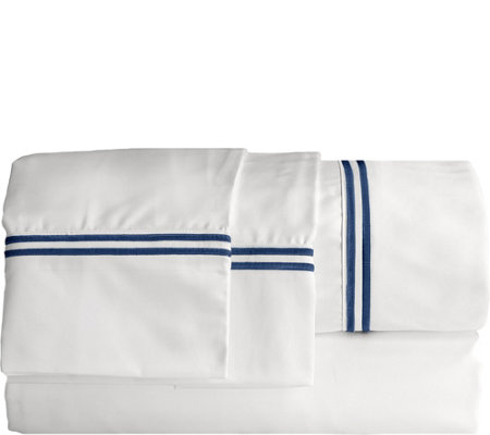 Elle 1200TC Embroidered Stripe Full Sheet Set