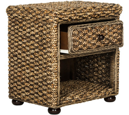 Musa Braided Wicker One-Drawer Nightstand by Valerie