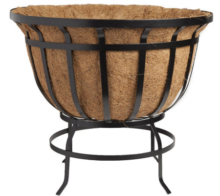 Plow Hearth Round Steel Coco Basket Planter